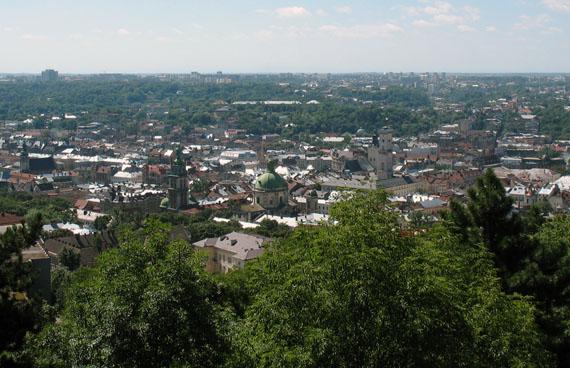 Вид на Львов с кургана Высокого замка