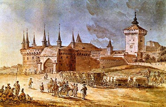 Барбакан и Флорианская башня на картине Z. Vogel (XVIII в.)